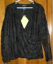 Jones Elements Women's Long Sleeve Lacy Top NWT Size 2X Black QVC Style