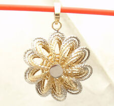 Technibond Diamond Cut Floral Pendant Enhancer 14K TwoTone Gold Clad Silver HSN
