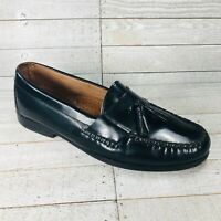 Johnston & Murphy Black Leather Tassel Loafer Shoes Sheepskin Insole Mens 10 M
