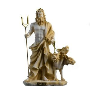 "Pluto Hades Lord of the Underworld Greek Statue Dead Figurine  Gold Tone 9.4"""