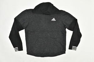 Adidas Men's Size M Pullover Sweater Hoodie Jacket Climalite Polyester Gray Soli