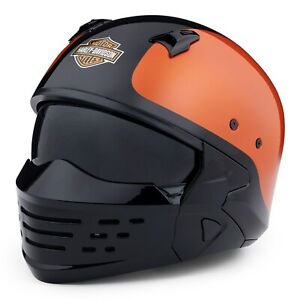 HARLEY-DAVIDSON Motorrad 2in1 Helm Modularhelm Sport Glide X07 Schwarz Orange