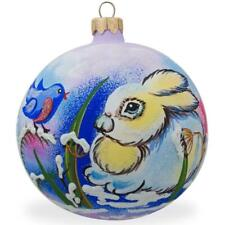 Bunny and Bird Glass Ball Christmas Ornament 3.25 Inches