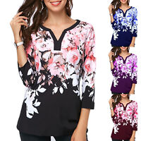 Womens Boho Floral V-neck 3/4 Long Sleeve Shirt Ladies Loose Casual Tops Blouse