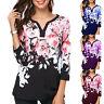 Womens Boho Floral V-neck 3/4 Long Sleeve Shirt Ladies Loose Casual Tops Blouse