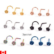 3pcs Nose Piercing Body Jewelry  Stainless Steel rose flower Nose Ring Nose Stud