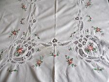Christmas Battenburg Holly Berry Lace Cotton Embroidery Tablecloth ~64 x 98
