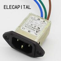 panel mounting 3 pins ac socket 8A EMI filter 115/250VAC 8A 50/60Hz
