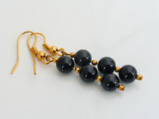 Elegant Black Agate Drop Dangle Pierced Gold Plated Earrings Semiprecious