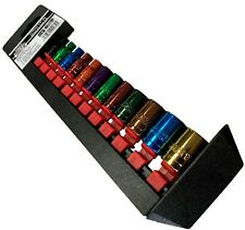 """1/4"""" Drive Socket Set 12 Piece Coloured Metric Sockets 4mm - 13mm with Rail 12pc"""
