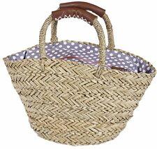 Straw Basket Grey Polka Dot Lined Hand Held Beach Shopping Bag Picnic Shopper