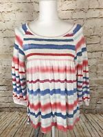 Anthropologie Meadow Rue Women's Size XS Striped Smocked Peasant Blouse Top