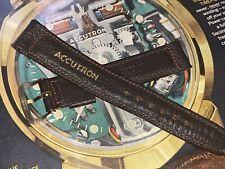 bulova accutron original vintage strap & buckle genuine brown leather beautiful