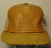 Vintage 1980s John Deere Farm Tractors Leather SNAPBACK TRUCKER HAT MADE IN USA
