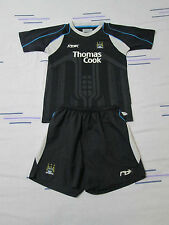 "Manchester City football kit shirt+shorts size JL/30""-32"" black colour Reebok"