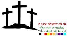 "3 Crosses on hill cross Funny Vinyl Decal Sticker Car Window laptop tablet 7"""
