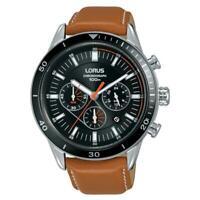Orologio Lorus uomo acciaio Cronografo analogico cinturino in pelle RT309HX-9