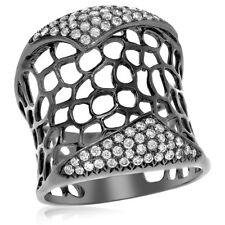 Mesh Right Hand Cocktail Statement Ring Wide 18K Black Gold Pave Diamond