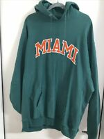 Miami Hurricanes Canes NCAA Football Hoodie Hooded Sweatshirt Mens Size Large