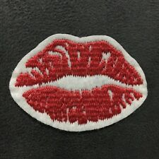 1pc Lips Embroidered Cloth Iron On Patch Applique Kiss Teeth Red #1005