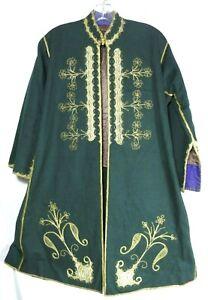 Vtg Nehru Green Wool Grooms Wedding Coat Gold Trim Pockets Handmade M-L Pakistan