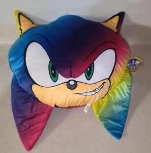 """Sonic the Hedgehog Face Head Pillow Plush 22"""" Stuffed Toy Large Multicolor NWT"""