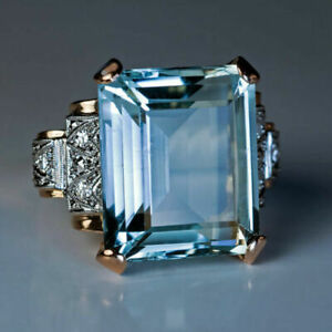3Ct Emerald Cut Aquamarine Diamond Women's Engagement Ring 14K Yellow Gold Over