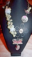 CRAFT PEARL CROWN HEART FLOWER RHINESTONE WINGS CUPCAKE CHARMS NECKLACE