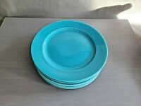 12 Luncheon PLATES set lot turquoise blue HOMER LAUGHLIN FIESTAWARE 9 3/8""