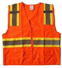 New Orange High Reflective Safety Vest w 4-Pockets for Exercise Construction M L