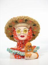 """Cameo Girls Head Vase Clarissa 1949 """"Fun in The Sun"""" MIB FREE SHIPPING"""