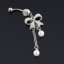 Unique Belly Ring Pearl Bow with 2-Tassel Pearl Dangle Navel Belly Ring JW753 YG