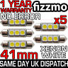 5x 41mm 264 C5W SV8.5 6000k BRIGHT WHITE 3 SMD LED FESTOON LIGHT BULB ERROR FREE