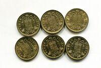 LOTE X 6  1 peseta  FRANCO 1966  SC sacadas de rollo  las 6 años diferentes