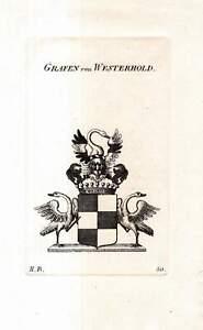 c1820 Grafen von Westerholt Adelswappen Adel Heraldik Kupferstich-Wappen