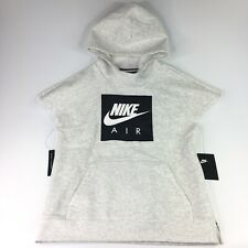 Nike Air Youth Big KID XL Brushed-Back Fleece Short-Sleeve Hoodie HEATHER GRAY