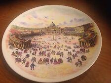"Souvenir Ceramic Plate ""Roma - Old Piazza S. Pietro"" Felix Philippe Benoist"