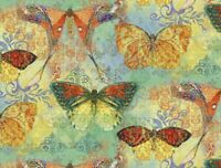 FAT QUARTER FABRIC  BOHO BRIGHT BUTTERFLIES  BUTTERFLY  SUSAN WINGET  COTTON  FQ