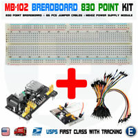 MB102 830 Solderless Breadboard Power Supply 65pcs jump cables Arduino MB-102