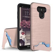 For LG G6 Case - Hybrid Shockproof KickStand Card Slot Credit Wallet Hard Cover