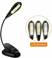 USB Rechargeable 4 LED Book Light Clip Reading Warm & White Brightness Modes NEW