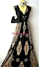 Monsoon Black Gold Baroque Print Jewel Maxi Evening Dress Size 20  Eur48 Usa16