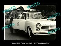OLD POSTCARD SIZE PHOTO OF THE QUEENSLAND POLICE FORD CORTINA PATROL CAR 1965