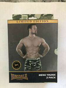 Men LONSDALE 2 Camouflage Army L Boxer Trunks NEW £2.99 post tracked Worldwide