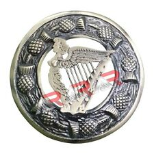 "Fly Plaid Kilt Brooch Thistle Harp Brass Antique Finish Unisex Adult Pin 3""(7cm)"