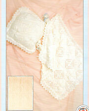 BEAUTIFUL BABY BLANKET PRAM / COT - LEAF & LACE EDGED KNITTING PATTERNS