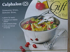 CALPHALON STAINLESS STEEL SALAD BOWL WITH TONGS*5 QT** BRAND NEW**