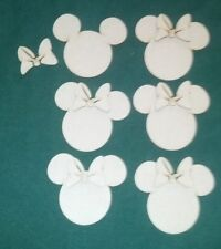 Minnie Mouse shape unfinished cutouts  (6 pieces)