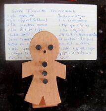 Hand Made Wooden Gingerbread Man Recipe Clip Lot of 20