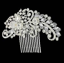 Silver & Gold Bridal Bridesmaid Wedding Hair Comb Clip Rhinestone Diamante Prom